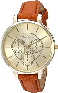 Geneva Women's GV/1012CHBN Gold-Tone and Brown Strap Watch