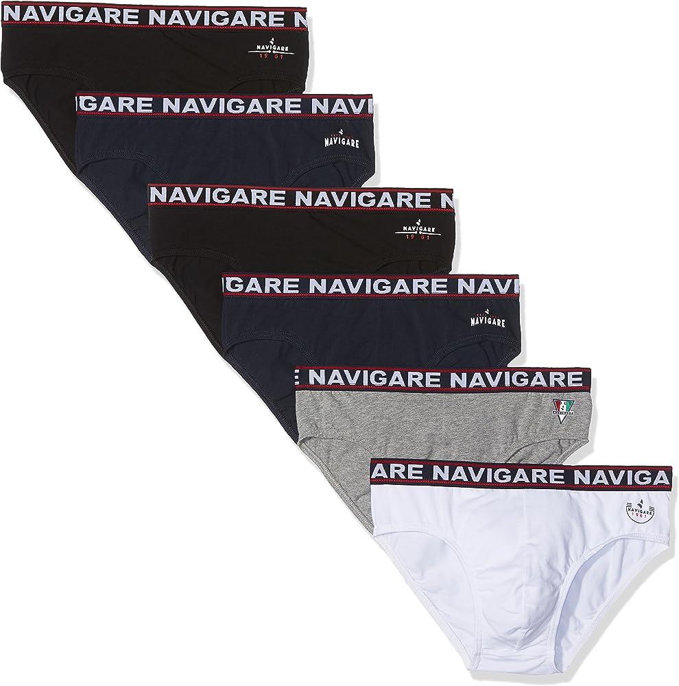 Navigare, 6 paia di mutandine, slip per uomo, in cotone elasticizzato, bgn 324A
