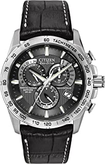 7276063b53ae74 Citizen Men's Eco-Drive Chronograph Watch with a Black Dial and a Black  Leather Strap