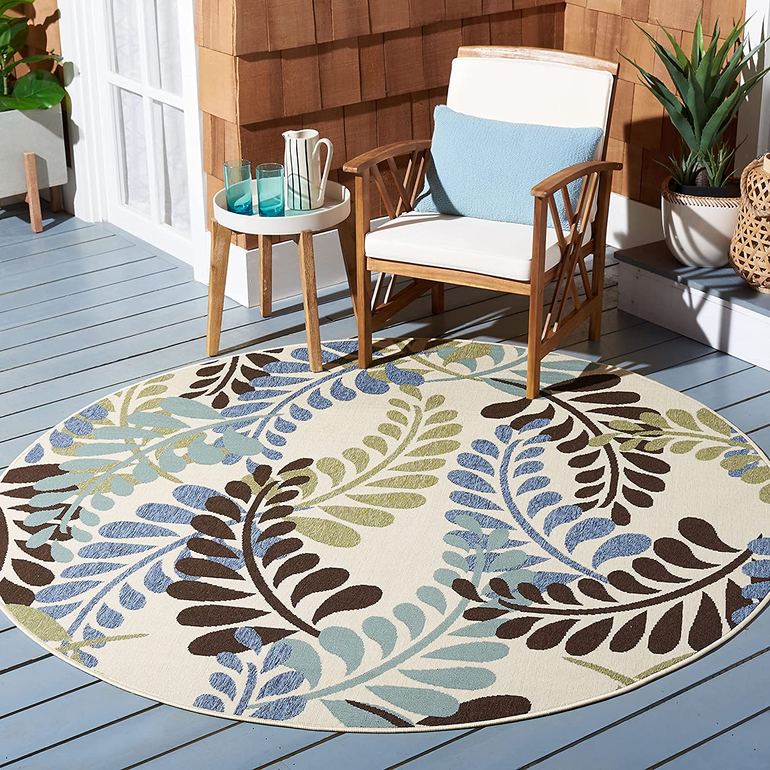 NEW before selling ☆ Safavieh Veranda Collection Mail order cheap VER056 Floral Outdoor Non-Sh Indoor