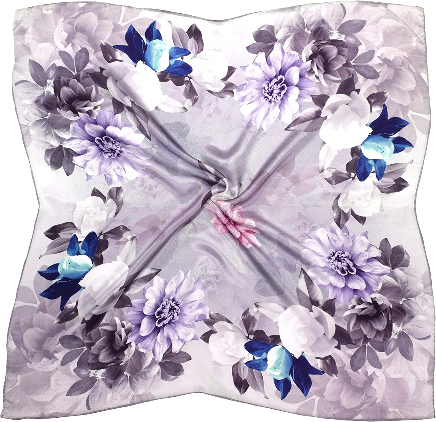 Grey bluee Flower Print Thick Silk Square Scarf