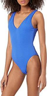 Seafolly womens Seafolly Women's Deep V Neck Over the Shoulder One Piece Swimsuit One Piece Swimsuit