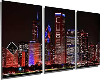 72 x 36 Total - Red Chicago Cubs Skyline at Night Metal Print, Wall Art. 3 Panel Split, Triptych HD Aluminum