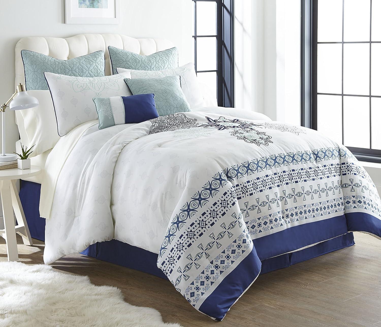 Nanshing April12-K April Collection Bedroom Comforter Complete 12 Piece Set, King, bluee