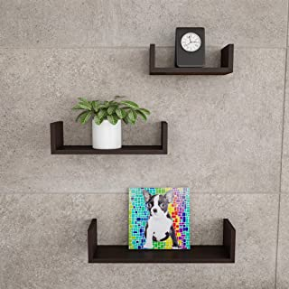 Lavish Home Floating Shelves- U Shape Wall Shelf Set with Hidden Brackets, 3 Sizes to Display Decor, Photos, More-Hardware...