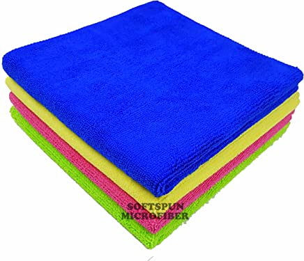 SOFTSPUN 340 Gsm Microfiber Car Cleaning, Detailing and Polishing Cloth, 40x40cm (Multicolour) - Set of 4