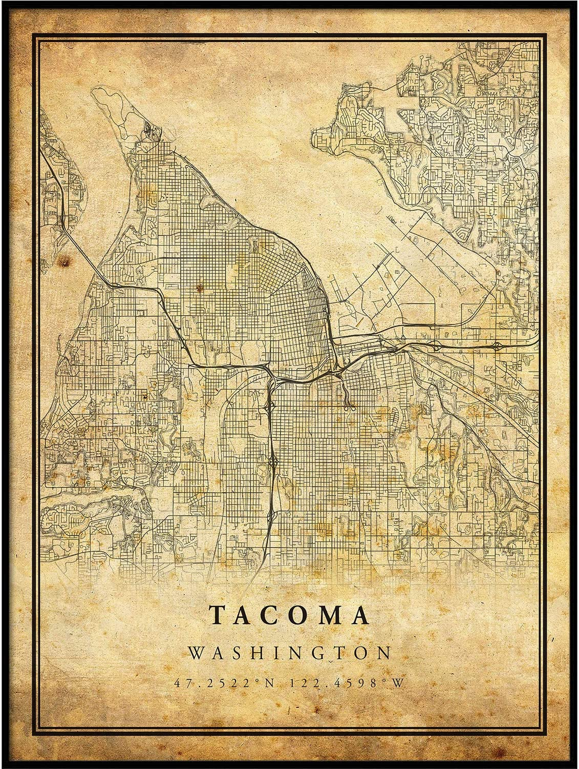 Tacoma Map Vintage Style Poster Print Old City Artwork Prints Antique Style Home Decor Washington Wall Art Gift Map Wedding Gift 24x36 Posters Prints