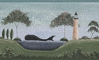 Lighthouse Fregate Ship Whale Vintage Cracked Blue Teal Sky Wallpaper Border Retro Design, Roll 15' x 5''