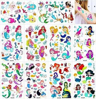 Konsait Mermaid Tattoos for Kids, 188+ Pcs Mermaid Temporary Tattoos Body Stickers for Girls Children Birthday Party Baby ...