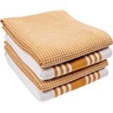 KAF Home Set of 4 Centerband and Waffle Flat Kitchen Towels | 18 x 28 Inch Absorbent