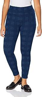 ESPRIT Leggings Tweed Check Damen blau grau Damenleggings blickdicht mit Muster eng kariert dick undurchsichtig zum Rock oder Kleid 1 Stück