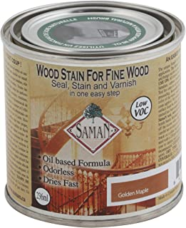 SamaN SAM-302-8 8-Ounce Interior Stain for Fine Wood for Seal, Stain and Varnish, Gold Maple
