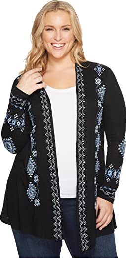 Plus Size 1317 Cotton Slub Jersey Cardigan