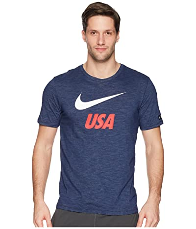 Nike USA Dry Tee Slub Preseason (Midnight Navy) Men