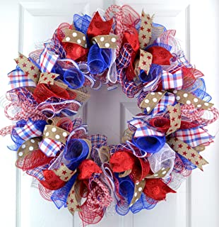 Fourth of July Independence Day Mesh Door Wreath; red white blue jute burlap | J1