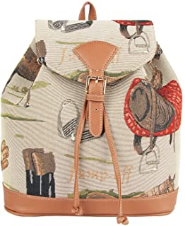 Signare Tapestry Fashion Backpack Rucksack for Women with Horse Design (RUCK-HOR)