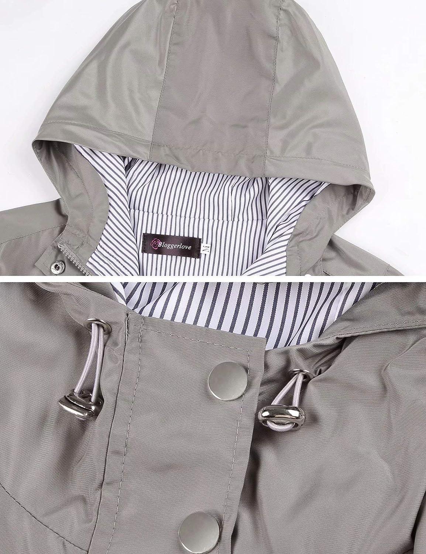 Bloggerlove Rain Jacket Women Lightweight Raincoat Waterproof Windbreaker Striped Climbing Outdoor Hooded Trench Coats S-XXL