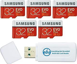 سامسونج 32 جيجا بايت بطاقة ذاكرة ايفو بلس مايكرو اس دي (5 حزم EVO+) بطاقة ذاكرة SDHC الفئة 10 مع محول (MB-MC32G) حزمة مع (...