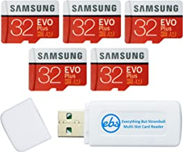 Samsung 32GB Evo Plus MicroSD Card (5 Pack EVO+) Class 10 SDHC Memory Card with Adapter (MB-MC32G) Bundle with (1) Everyth...