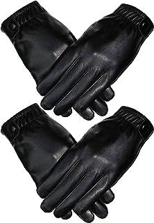Men's Winter Leather Black Gloves Full-Hand Touchscreen Texting Lined Gloves
