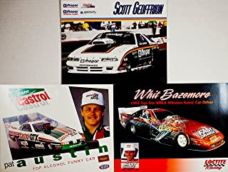 Castrol 1993/1994 - NHRA/Winston Drag Racing - 3 Hero Cards - Whit Bazemore : Funny Car Dodge Daytona/Scott Geoffrion : Dodge/Mopar/Pat Austin : Funny Car GTX - Out of Print - Collectible