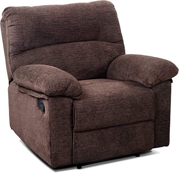 Padded Fabric Upholstery Recliner Sofa Chair Living Room Single Chair Reclining Napping Chair With Overstuffed Design Brown Chair