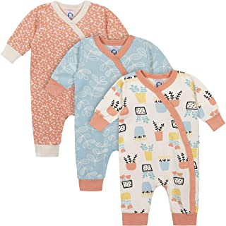 Grow by Gerber Baby Girls Organic 3-Pack Coverall Set