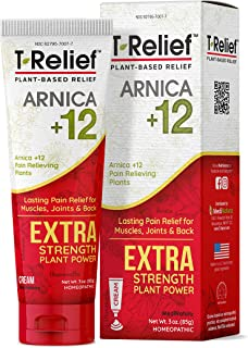 MediNatura T-Relief Extra Strength Pain Relief with Arnica + 12 Plant-Based Pain Relievers (3 Ounces Cream)