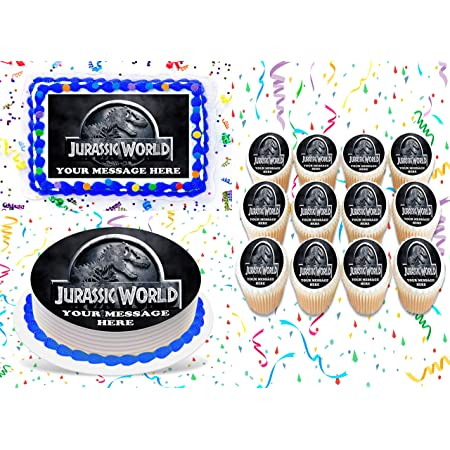 30 x JURASSIC WORLD PARK Fun Party Edible Wafer Paper Cupcake Toppers *PRECUT*
