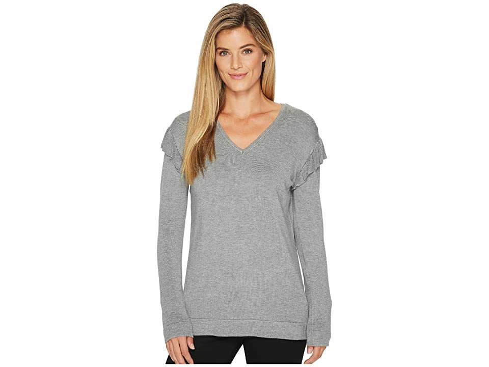 137e0a79cad3b4 Calvin Klein V-Neck with Ruffle Sleeve (Heather Granite) Women s Sweater
