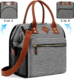 BRINCH Lunch Bag Insulated Lunch Box Leak Proof High Temperature Resistance Lunch Bags for Women Men Commuter Thermal Lunch Tote Cooler Bag Wide Open Drink Can Organizer Holder with Dual LOGOs, Strap
