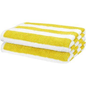AmazonBasics - Toalla de playa, de rayas Cabana, color amarillo, pack de 2: Amazon.es: Hogar