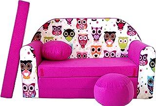 Pro Cosmo Canapé-lit H17 - avec Pouf, Repose-Pieds, Oreiller - pourEnfants - en Tissu Rose - 168x 98x 60cm