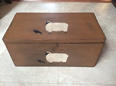 Sheep & Crow Wood Box,country brown, 17 3/4