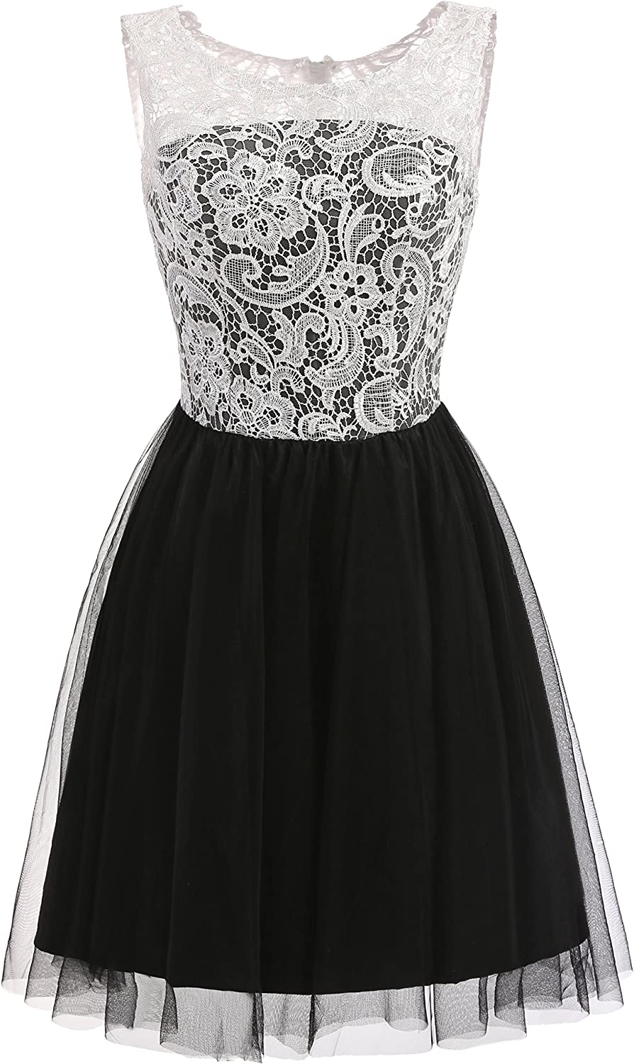 YSFS Women's Jewel Neck Mini Short Tulle Homecoming Party Dresses