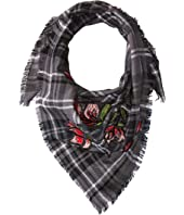 BCBGeneration - Plaid Floral Embroidered Bandana