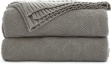 Cable Knit Cotton Light Grey Throw Blanket for Couch Sofa Beach Chair Bed Home Decorative Soft Warm Cozy lightweight Knitted Blankets ,2.2 Pounds Gray 50 x 60 Inch with a Washing Bag Silk Bow Tie Pack