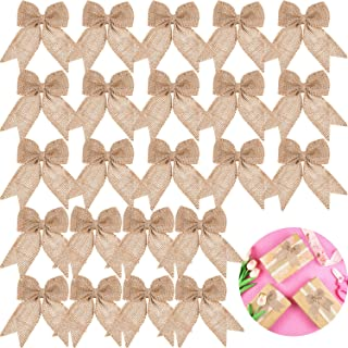 30 Pieces Burlap Bows Burlap Bow Knot Handmade Burlap Decorative Bowknot Natural Ornament Bow for Christmas Decorate Tree Festival Holiday Party Supplies