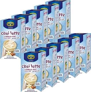 Krüger Chai Latte Classic India menos dulce, vainilla-canela, té de la leche de bebida y templado, 10 Pack, 10 x 10 monodosis bolsa