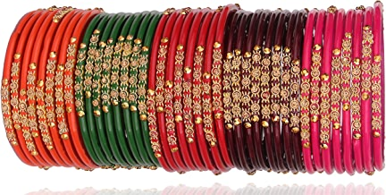 NMII Beautiful & Fashionable Glossy Glass Bangle Set Studded with Zircon & Beads for Women & Girls on Wedding & Festive Occasions (Pack of 40 Banlge)