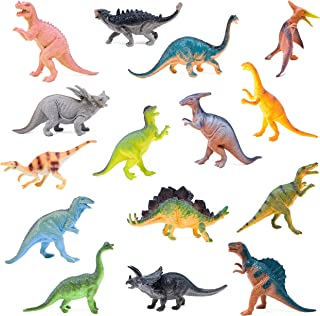 """BOLEY Monster (15-Pack) Large 7"""" Toy Dinosaurs Set - Enormous Variety of Authentic Type Plastic Dinosaurs - Great as Dinosaur Party Supplies, Birthday Party Favors, and More"""