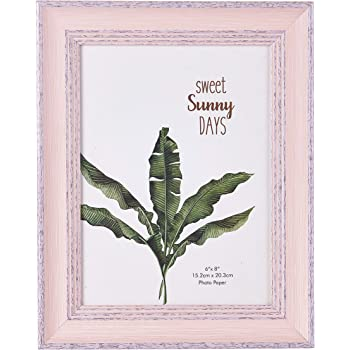 6x8 Inches Vintage Feel Rustic Picture Frame for Tabletop or Wall Hanging with Glass Front (Pink, 6X8)