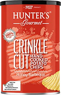 Hunter's Gourmet Crinkle Cut Hand Cooked Potato Chips Honey Barbeque, 140 gm
