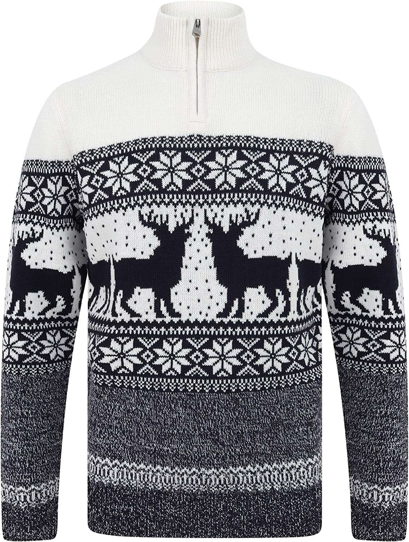 Merry Christmas Mens Nordic Style Quarter Zip Funnel Neck Xmas Jumper