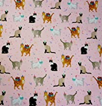 "Kitty Cat Celebration Gift Wrapping Paper Flat Sheet - 24"" x 6'"