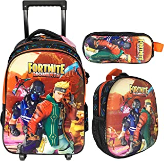 3D FORTNITE 4 WHEEL TROLLEY BAG WITH BACKPACK FOR KIDS BOYS AND GIRLS INCLUDE LUNCH BAG AND PENCIL CASE/POUCH (FORTNITE)