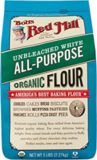 Bob's Red Mill Organic Unbleached White All-Purpose Flour, 5 lb (Pack of 4)