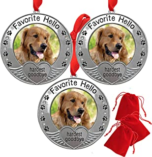 BANBERRY DESIGNS Pet Memorial Ornament - Picture Ornament for a Pet - Engraved with The Saying Favorite Hello, Hardest Goo...