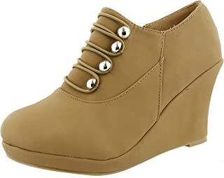 TOP Moda Women's Closed Round Toe Button Platform Wedge Ankle Bootie (7 B(M) US, Tan)