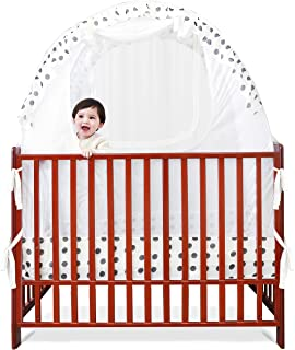 SDADI Baby Crib Safety Tent Pop Up Mosquito Net with Baby Monitor Hang Ribbon,Toddler Bed Canopy Netting Cover |Dots WLCN01D